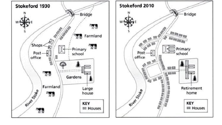 IELTS Academic Writing Task 1 Model Answer - Maps - Illustration on how the village Stokeford changed over an 80-year period.
